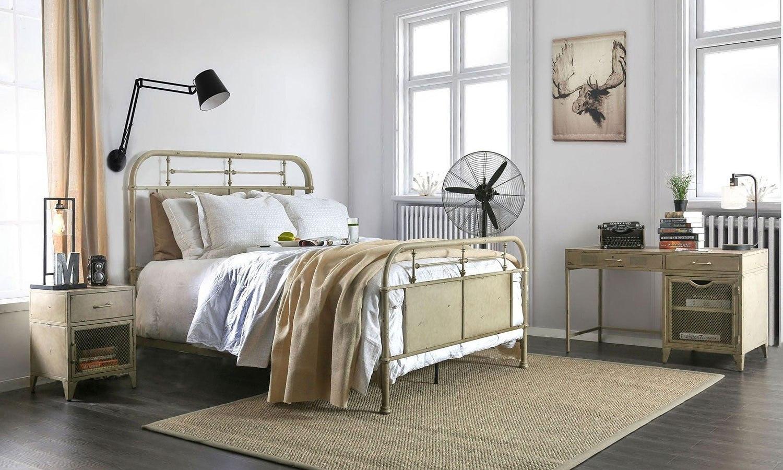 Haldus Metal Bedroom Set Distressed Ivory by Furniture