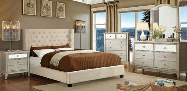Cayla Upholstered Bedroom Set Ivory by Furniture of