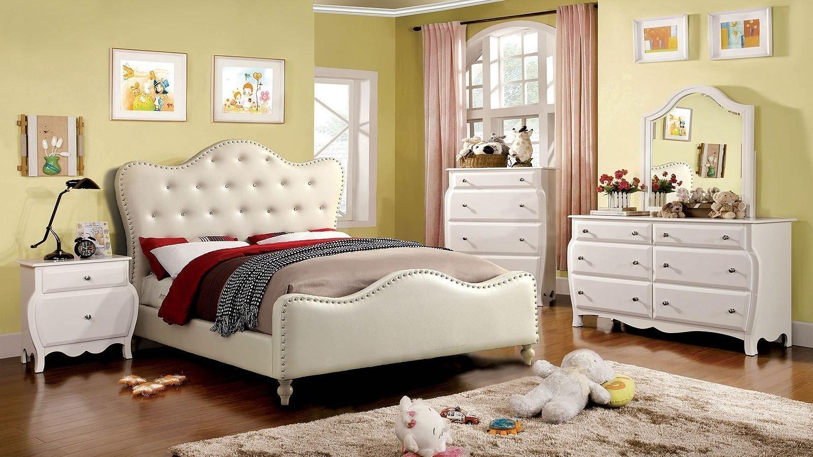 Sugar Upholstered Bedroom Set Ivory by Furniture of