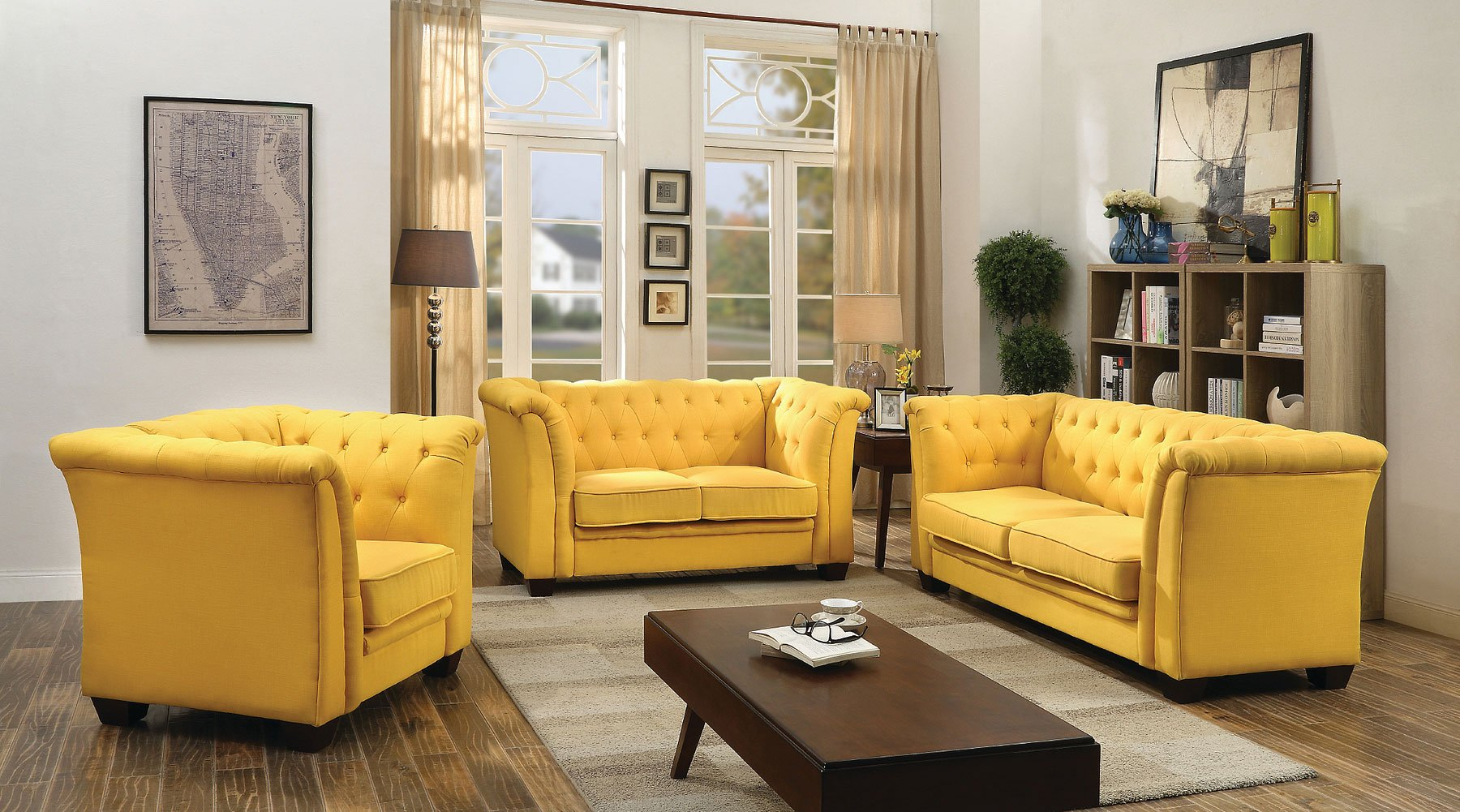 Yellow Living Room Chair G322 Tufted Living Room Set Yellow Living Room