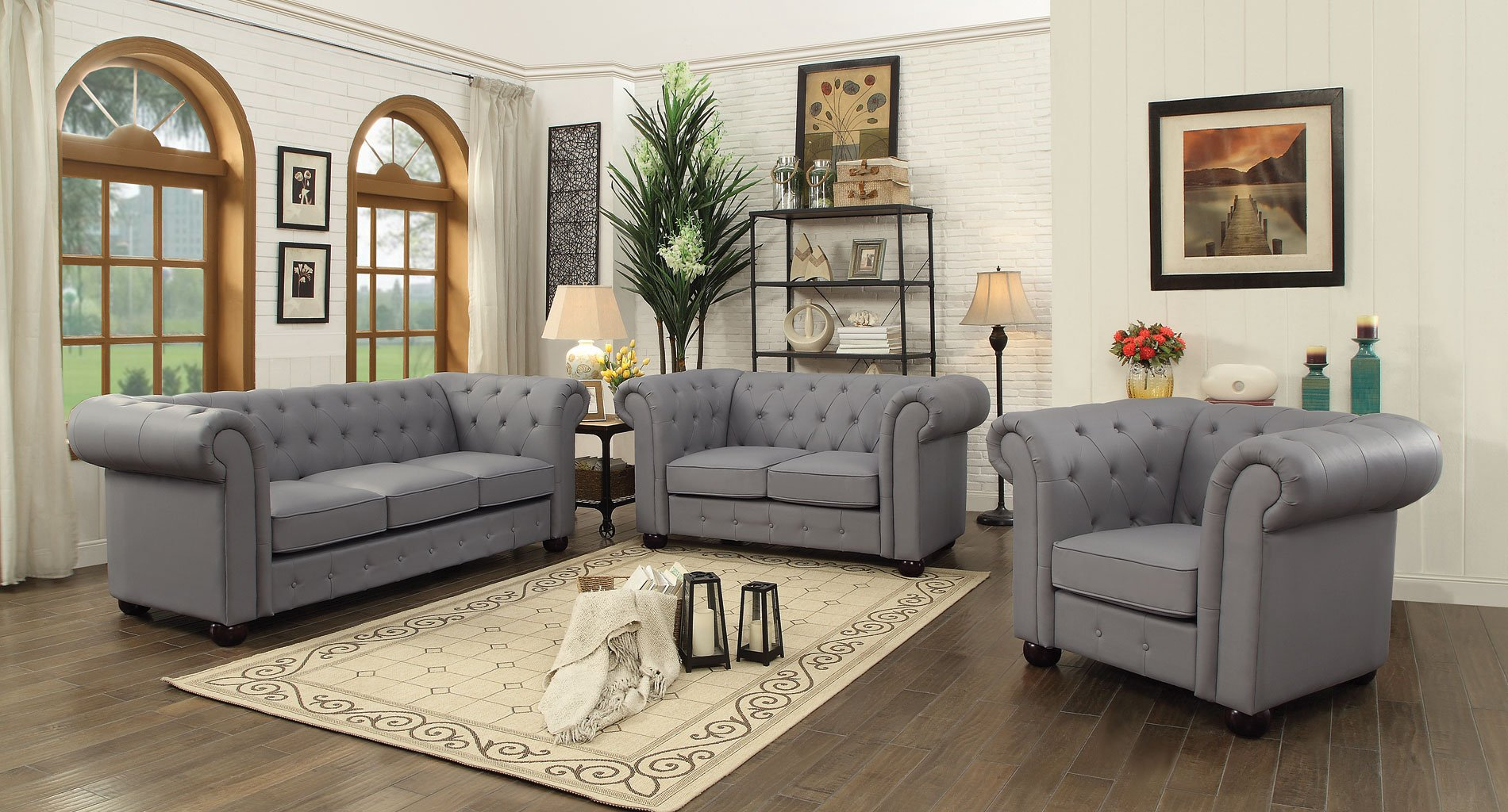 G491 Tufted Living Room Set Gray by Glory Furniture