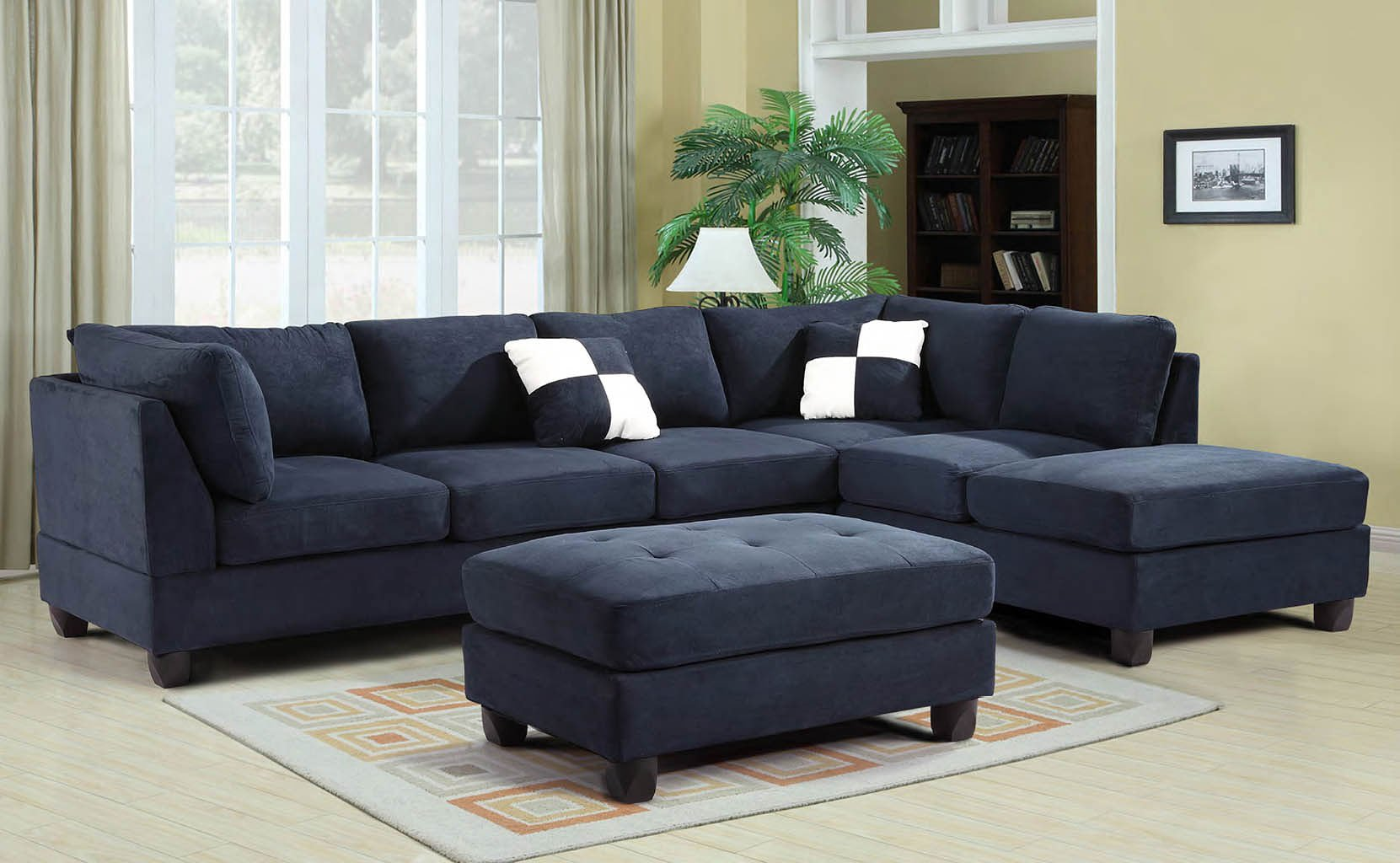 Blue Living Room Chairs G630 Reversible Sectional Set Navy Blue Living Room