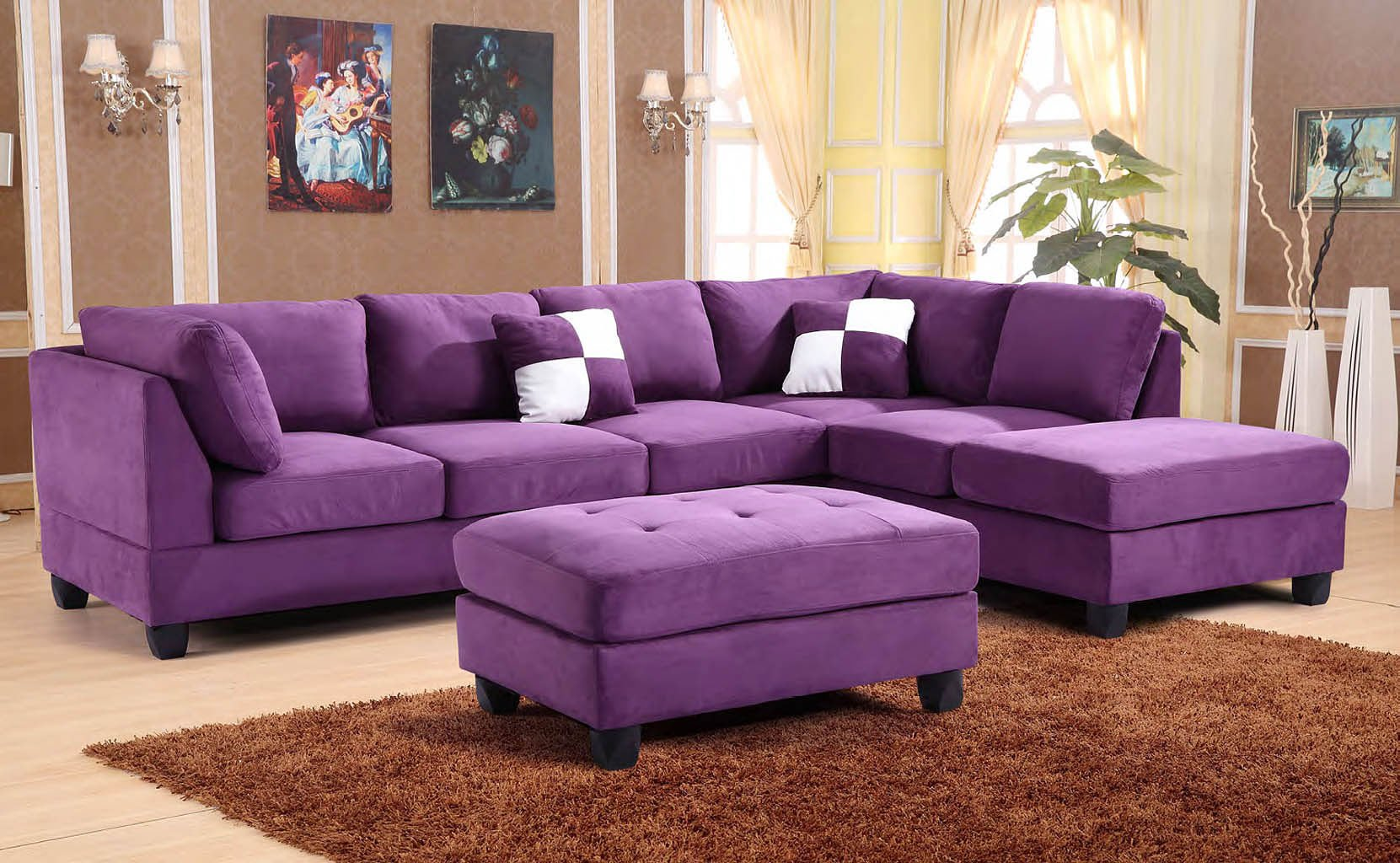 sleeper sofa sectional couch walmart pull out g637 reversible set (purple) - living room sets ...