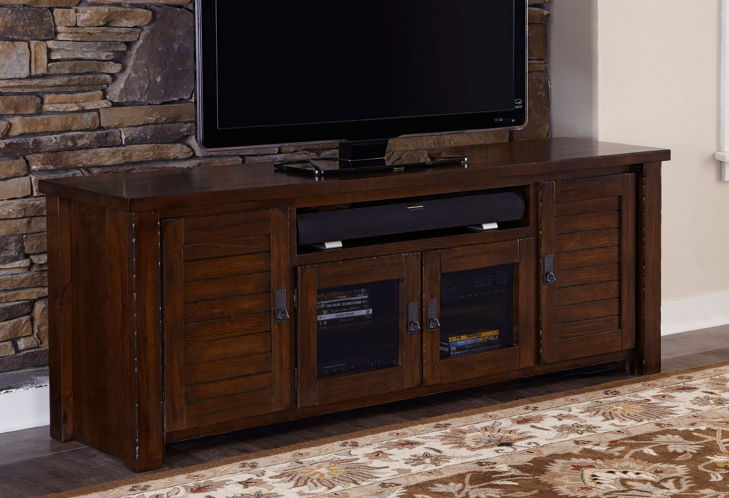 theater seating sofa sleeper antony todd trestlewood 74 inch tv console - stands and consoles ...