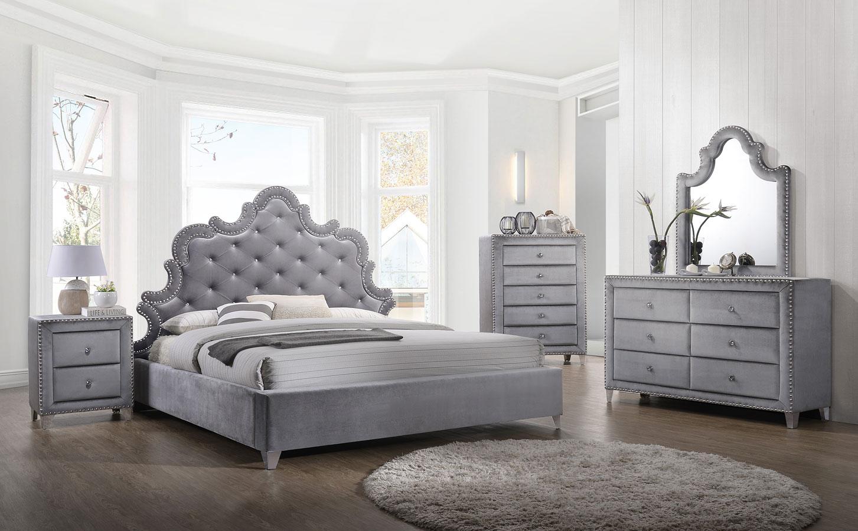 Sophie Upholstered Bedroom Set Grey by Meridian