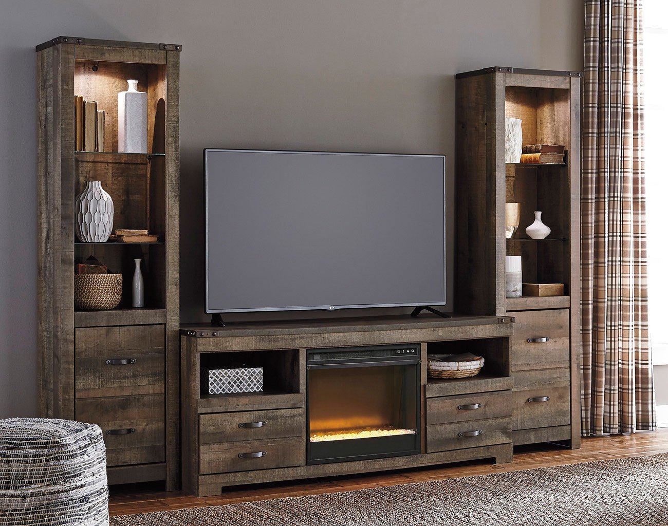 living room dressers grey fabric sofa ideas trinell entertainment center w/ glass and stone fireplace ...