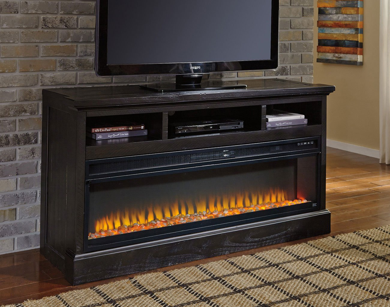 Sharlowe Large Tv Stand W Electric Fireplace By Signature