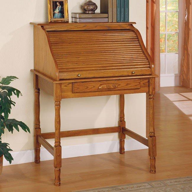 Palmetto Small Roll Top Secretary Desk Oak by Coaster