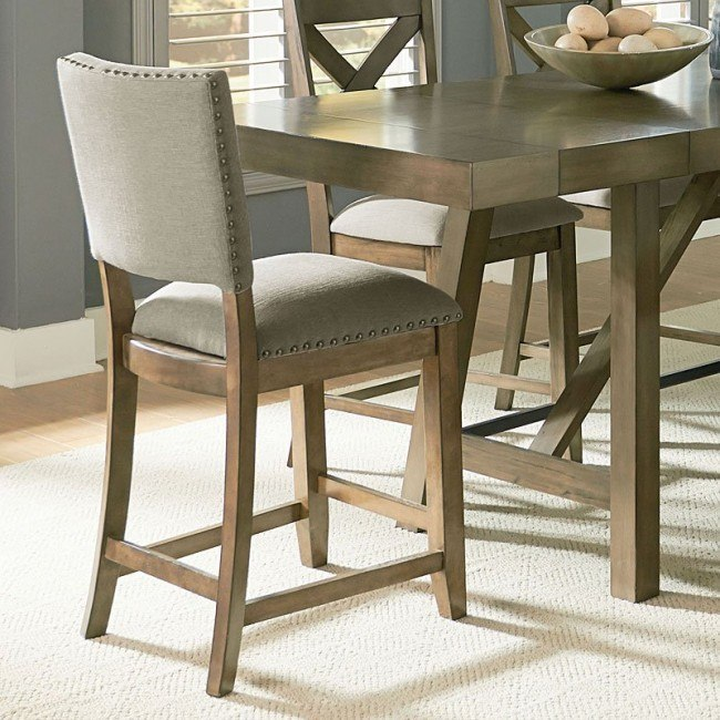 upholstered counter height chairs acrylic chair with cushion omaha grey set of 2 by standard furniture furniturepick