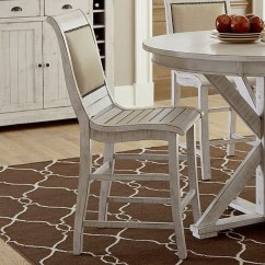 Upholstered Counter Height Chair Parson Chairs For Sale Willow Set Of 2 Distressed White By Progressive Furniture Furniturepick
