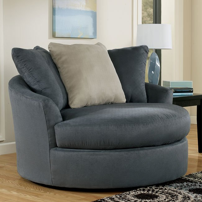 Mindy  Indigo Oversized Round Swivel Chair Signature Design by Ashley Furniture  FurniturePick