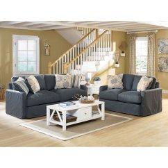 Addison Sofa Ashley Furniture Chesterfield Linen Slate Living Room Set By Signature Design Furniturepick