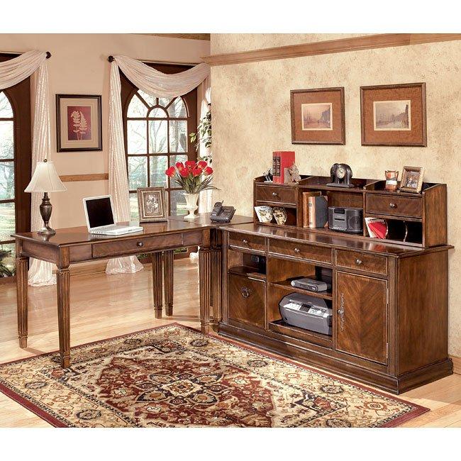 Hamlyn Leg Desk Home Office Set w Low Hutch Credenza