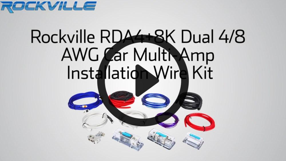 medium resolution of rockville rda4 8k dual 4 8 awg multi amp true gauge wire kit 2 farad 10 gauge multi amp wiring kit