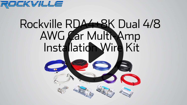 hight resolution of rockville rda4 8k dual 4 8 awg multi amp true gauge wire kit 2 farad 10 gauge multi amp wiring kit