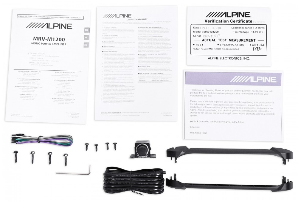 Alpine MRV-M1200 Mono 1200w RMS 2-Ohm Car Audio Stereo