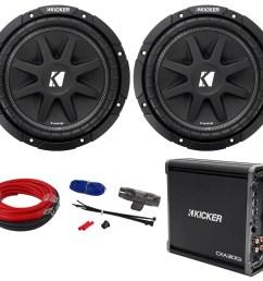 2 kicker 43c104 comp 10 600w svc 4 ohm car audio subwoofers amplifier amp kit [ 1000 x 929 Pixel ]