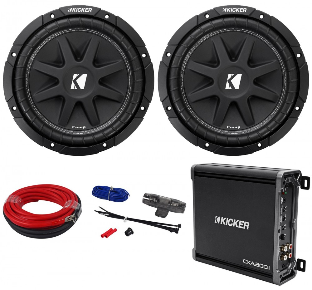 hight resolution of  2 kicker 43c104 comp 10 600w svc 4 ohm car audio subwoofers amplifier amp kit