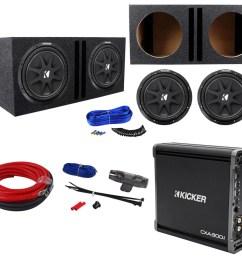 2 kicker 43c124 comp 12 600w car subwoofers amplifier amp kit vented sub box [ 1000 x 907 Pixel ]