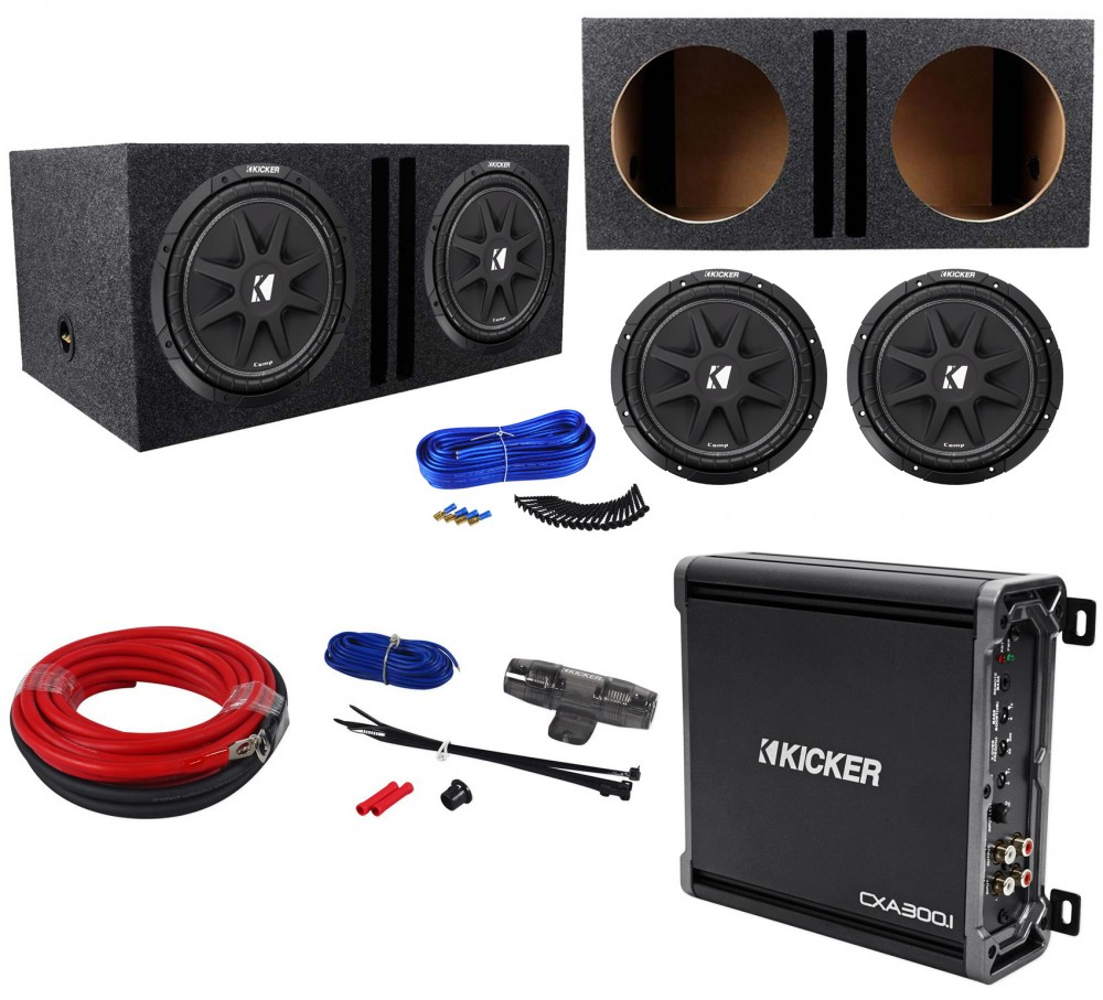hight resolution of  2 kicker 43c124 comp 12 600w car subwoofers amplifier amp kit vented sub box