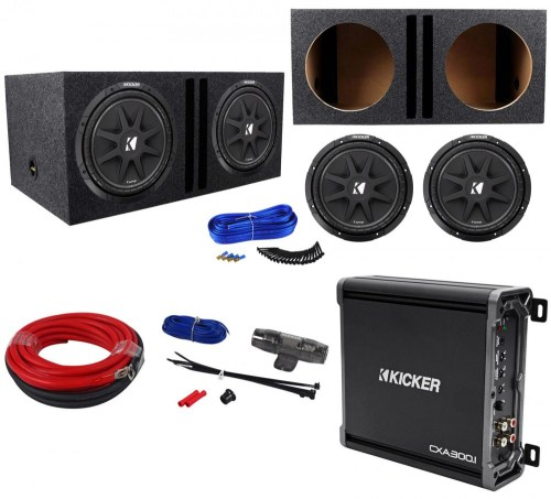 small resolution of  2 kicker 43c124 comp 12 600w car subwoofers amplifier amp kit vented sub box