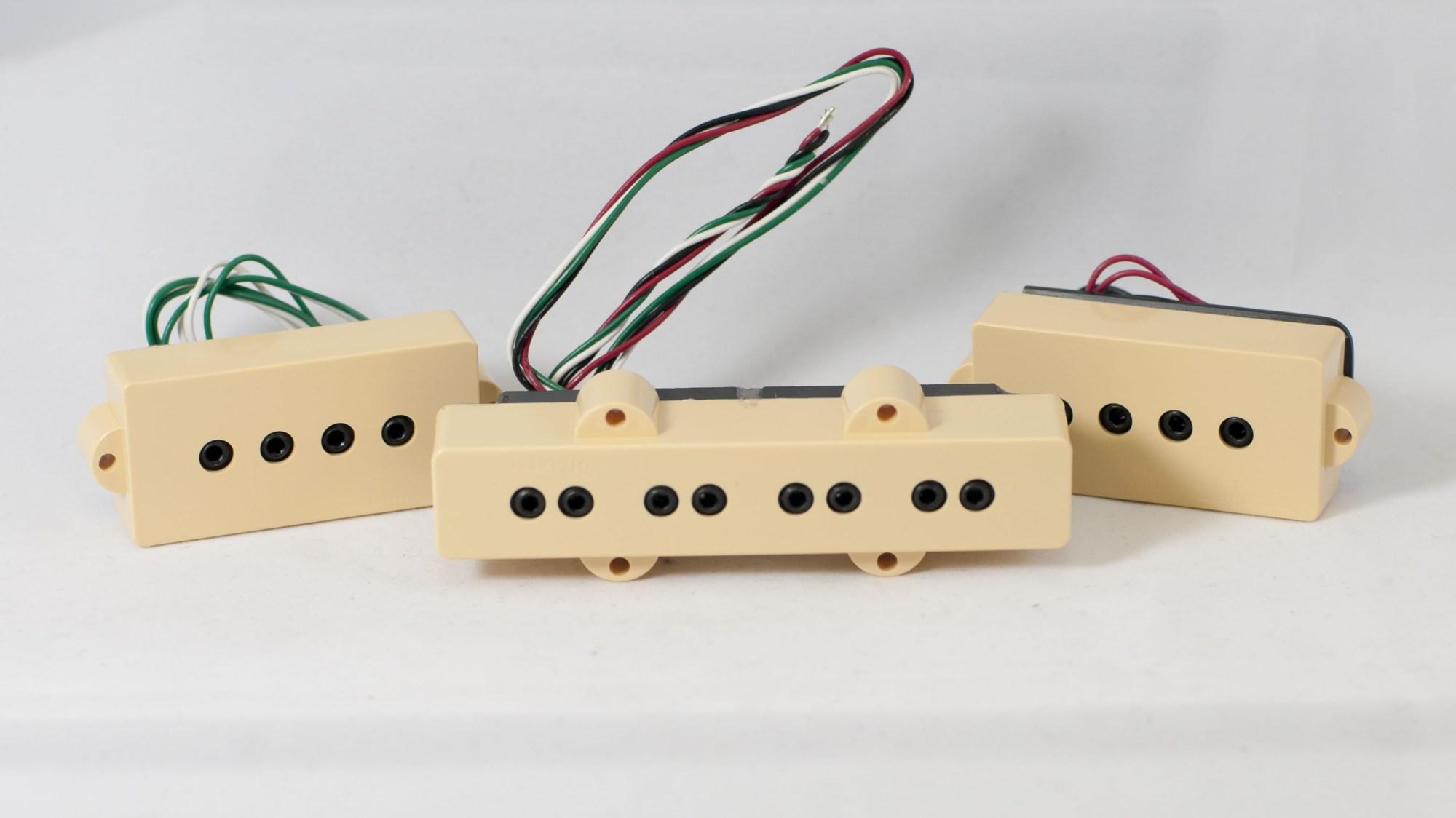 hight resolution of dimarzio dp126 cr creme 4 string p j size model j split coil set