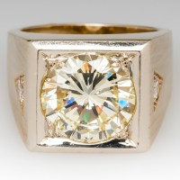 10 Carat Diamond Vintage Mens Ring Heavy 14K Gold