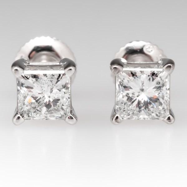1.5 Total Carat Princess Cut Diamond Stud Earrings 14k White Gold