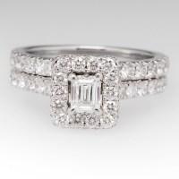 Neil Lane Diamond Halo Wedding Ring Set 14K White Gold