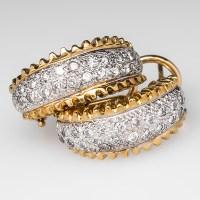 1/2 Carat Diamond Huggie Earrings Hand Engraved 18K Gold