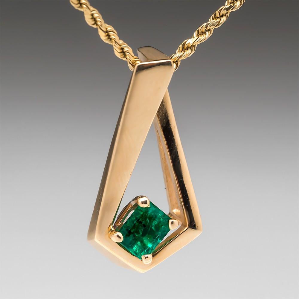 Vintage Angular Green Emerald Pendant 14K Gold