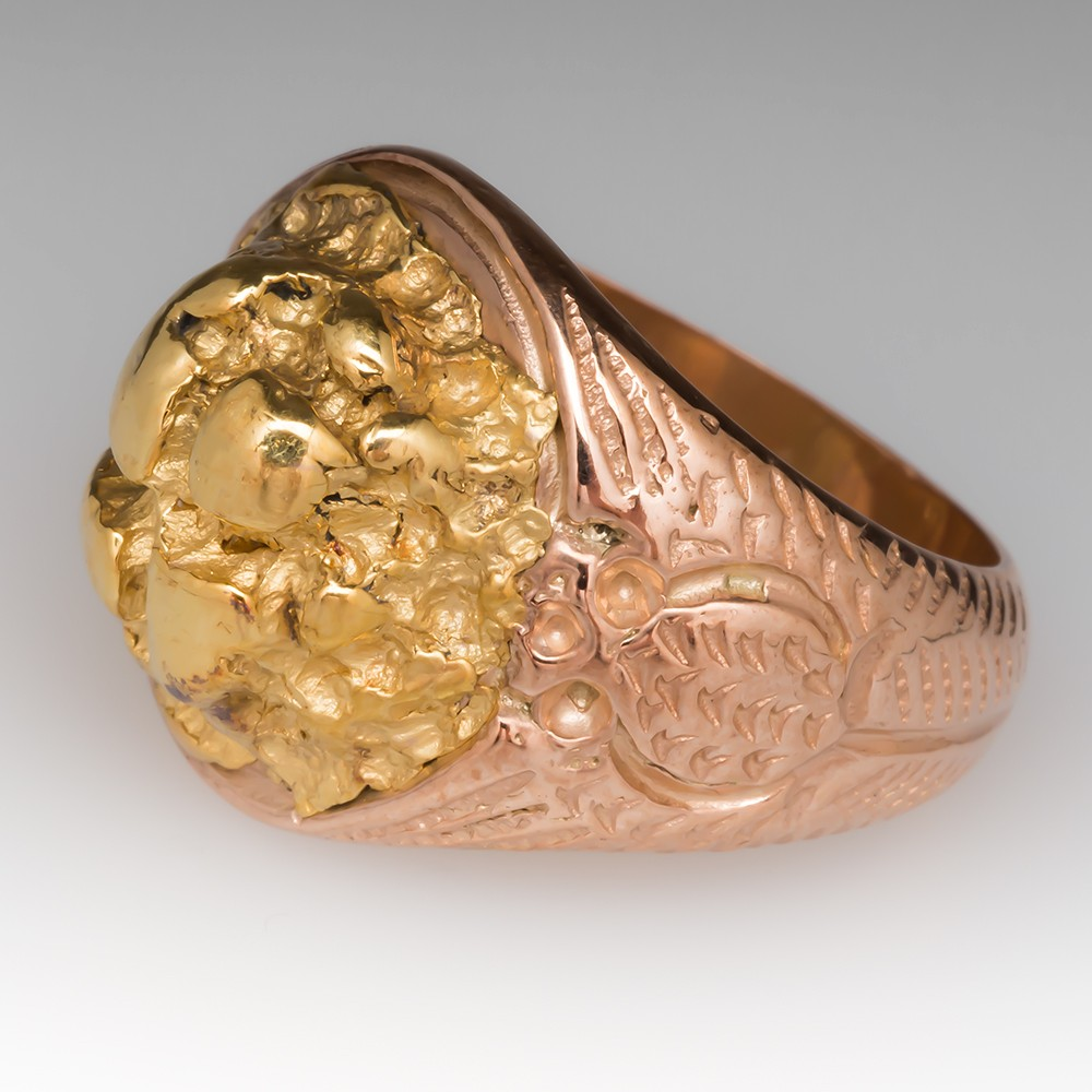 Mens 14K Rose Gold Signet Ring w/ High Karat Gold Nugget