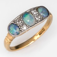 Victorian Opal Ring w/ Single Cut Diamonds 18K Gold