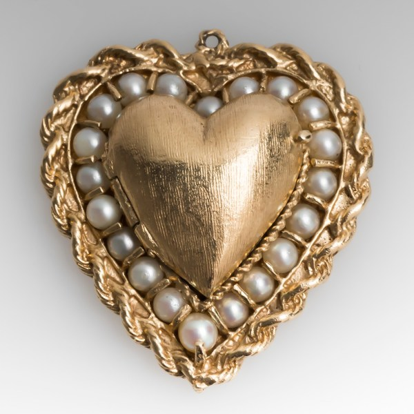 Vintage Heart Locket Charm Pendant With Pearls 14k Gold