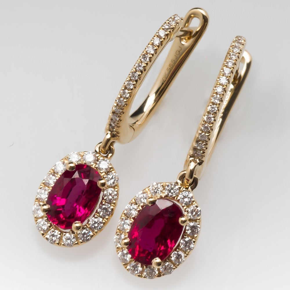 Bright Red Ruby Dangle Earrings with Diamond Halo 14K
