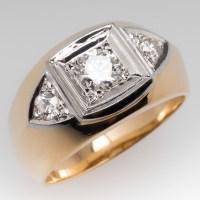Retro Vintage Diamond Mens Band Ring 14K Yellow Gold