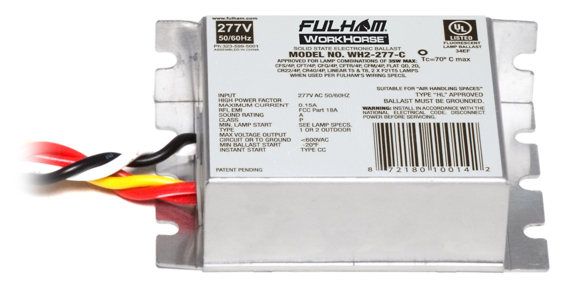 hight resolution of fulham wh2 277 c workhorse 2 ballast 35w max lamps fluorescent ballast wiring diagram ballast diagram wiring workhorse wh2 277c