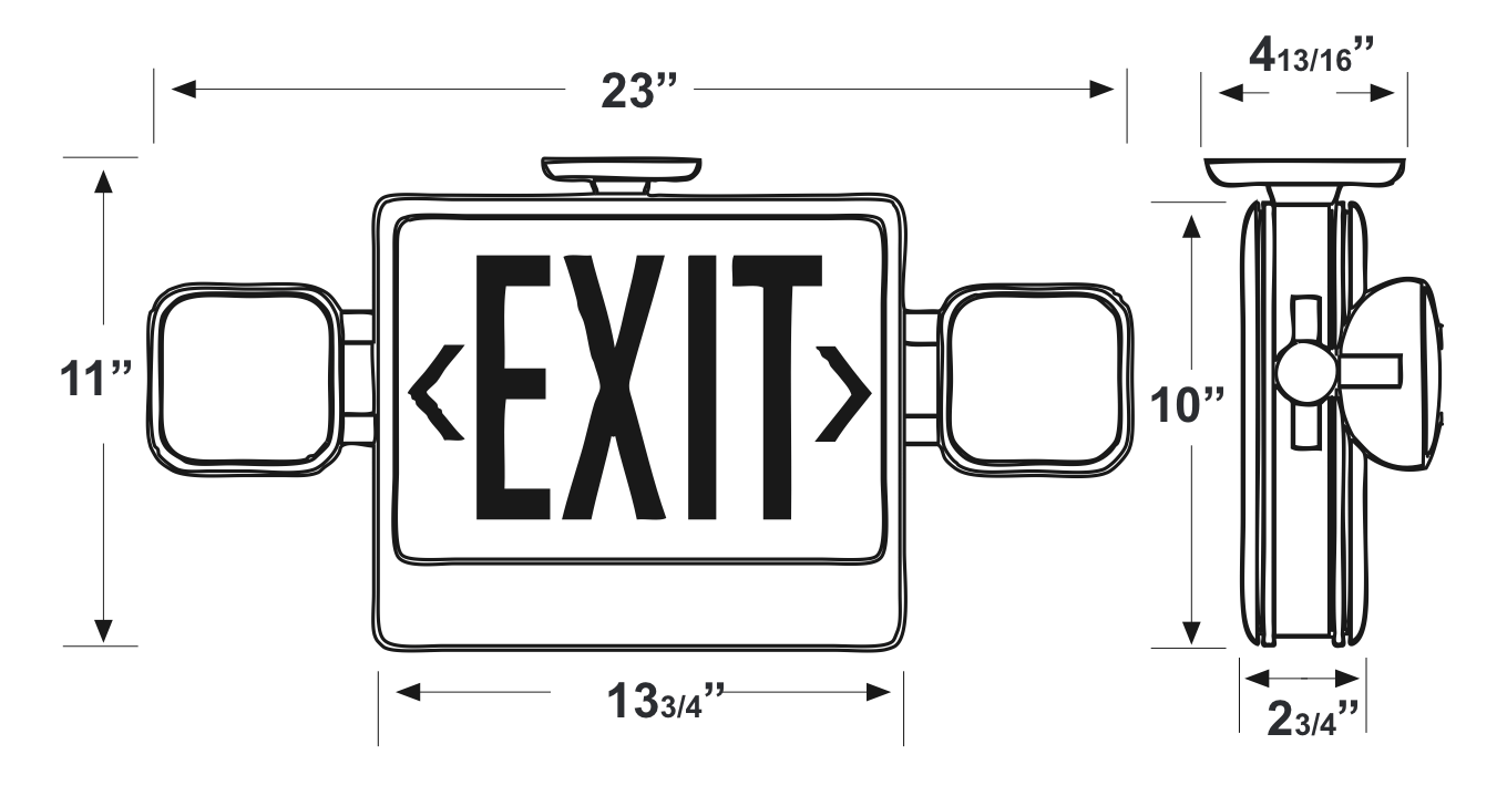 Standard CXTEU2GB-RC LED Double Faced Black Exit/Emergency C