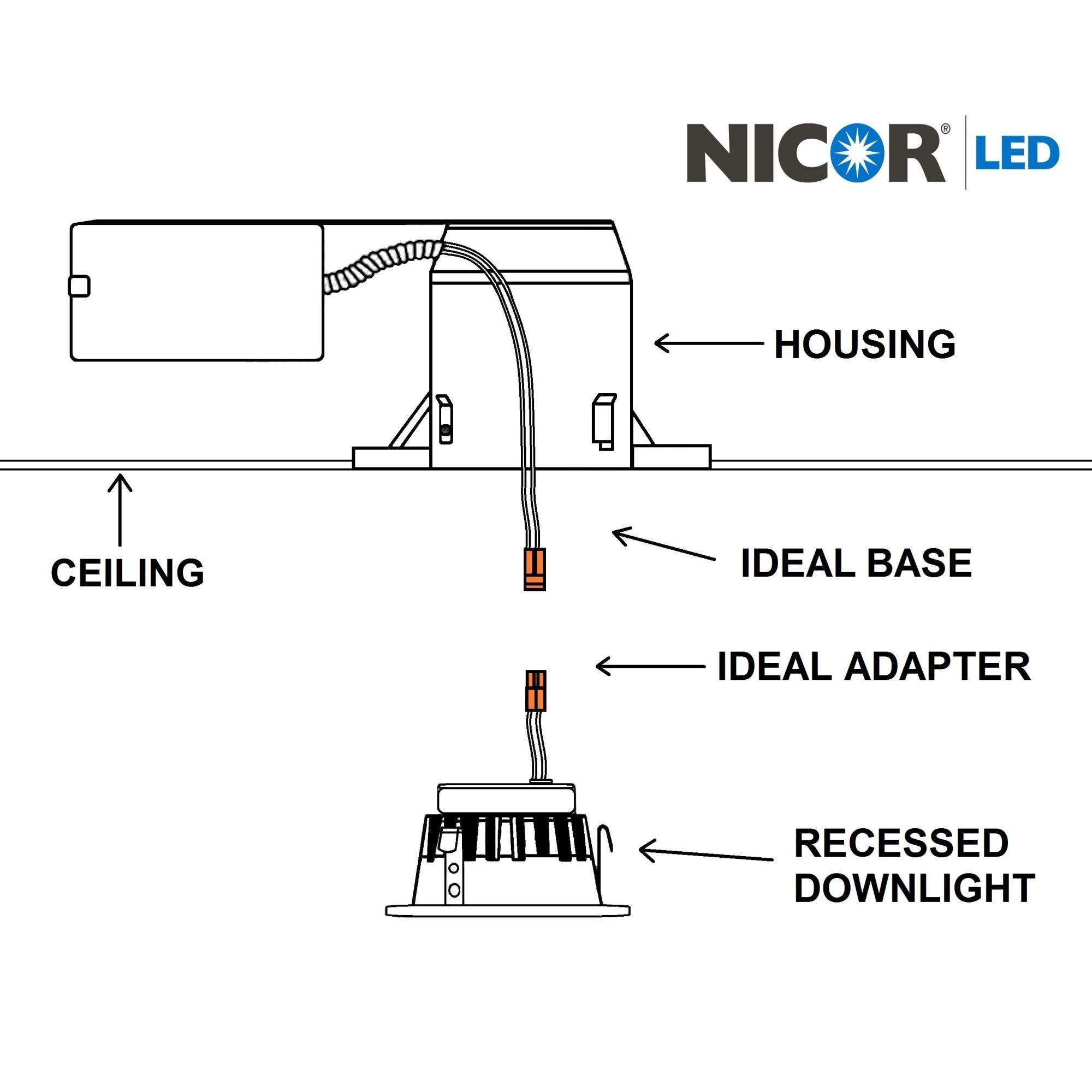 NICOR DLG2-10-120-3K-BK 3000K 2 Inch LED Retrofit Gimbal Dow