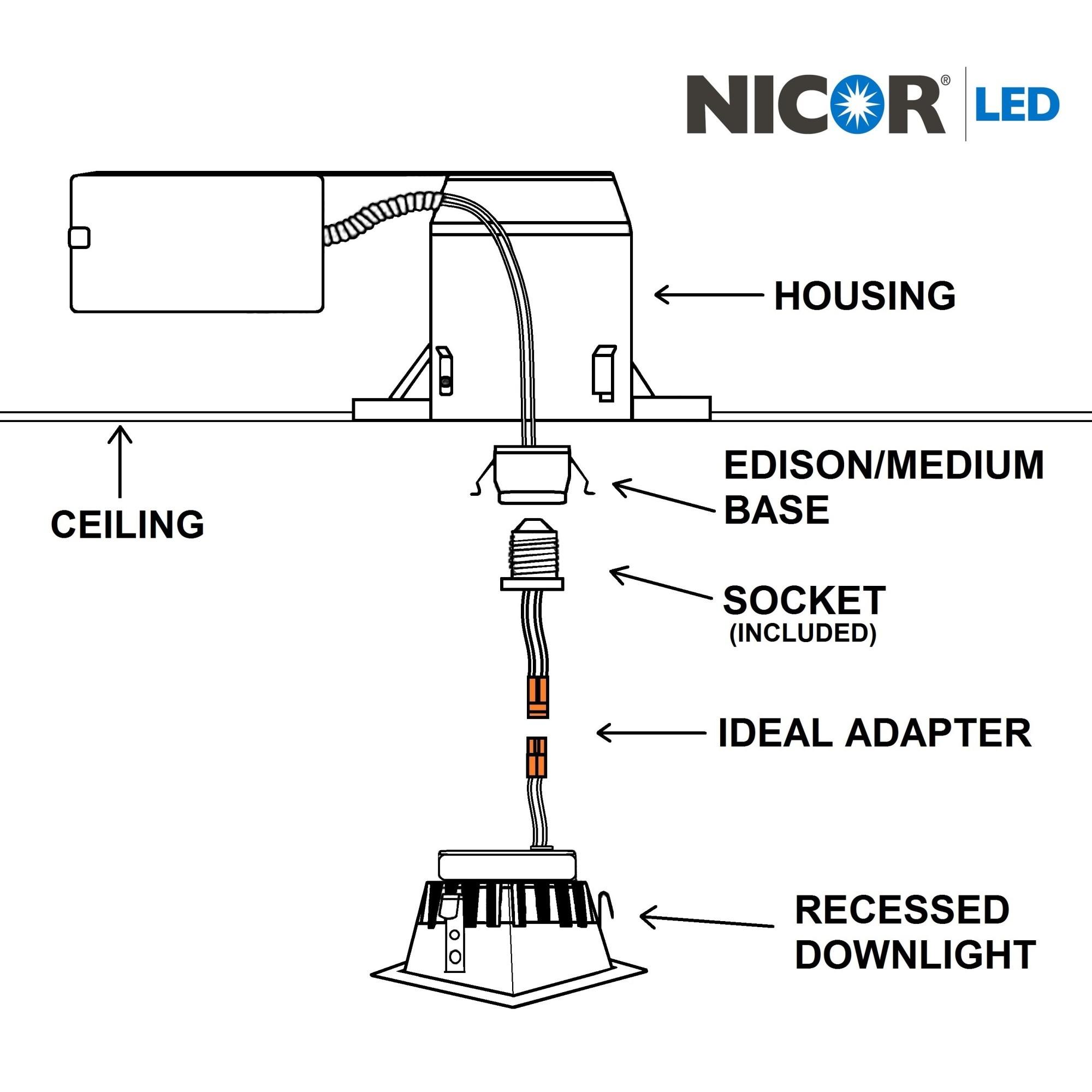 NICOR DLQ4-10-120-3K-WH 3000K 4 Inch Square LED Retrofit Dow