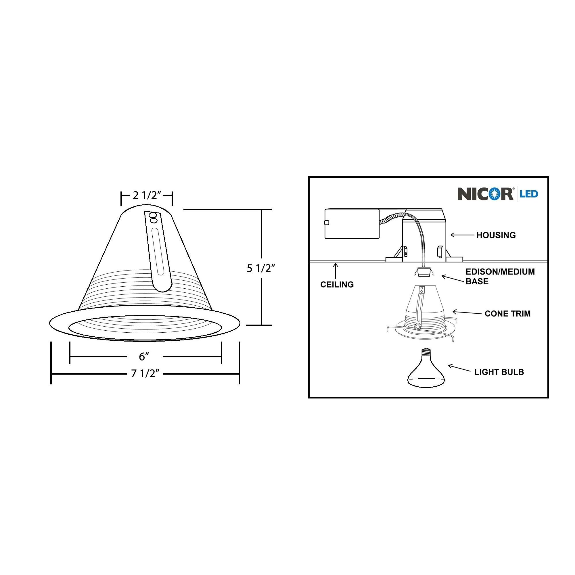 Nicor Ank 6 Inch R30 Airtight Cone Baffle