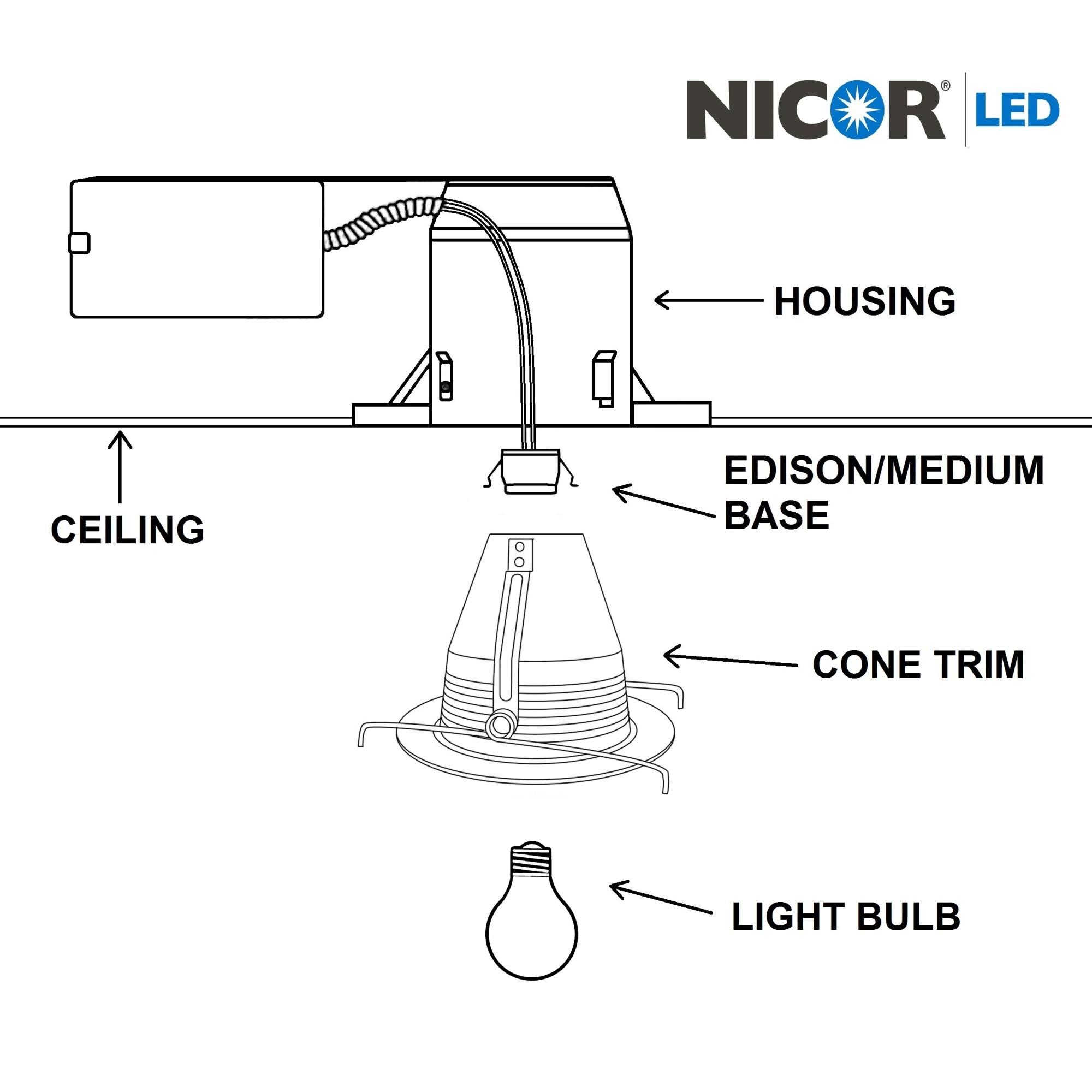 Nicor A 6 Inch R40 Cone Baffle Trim