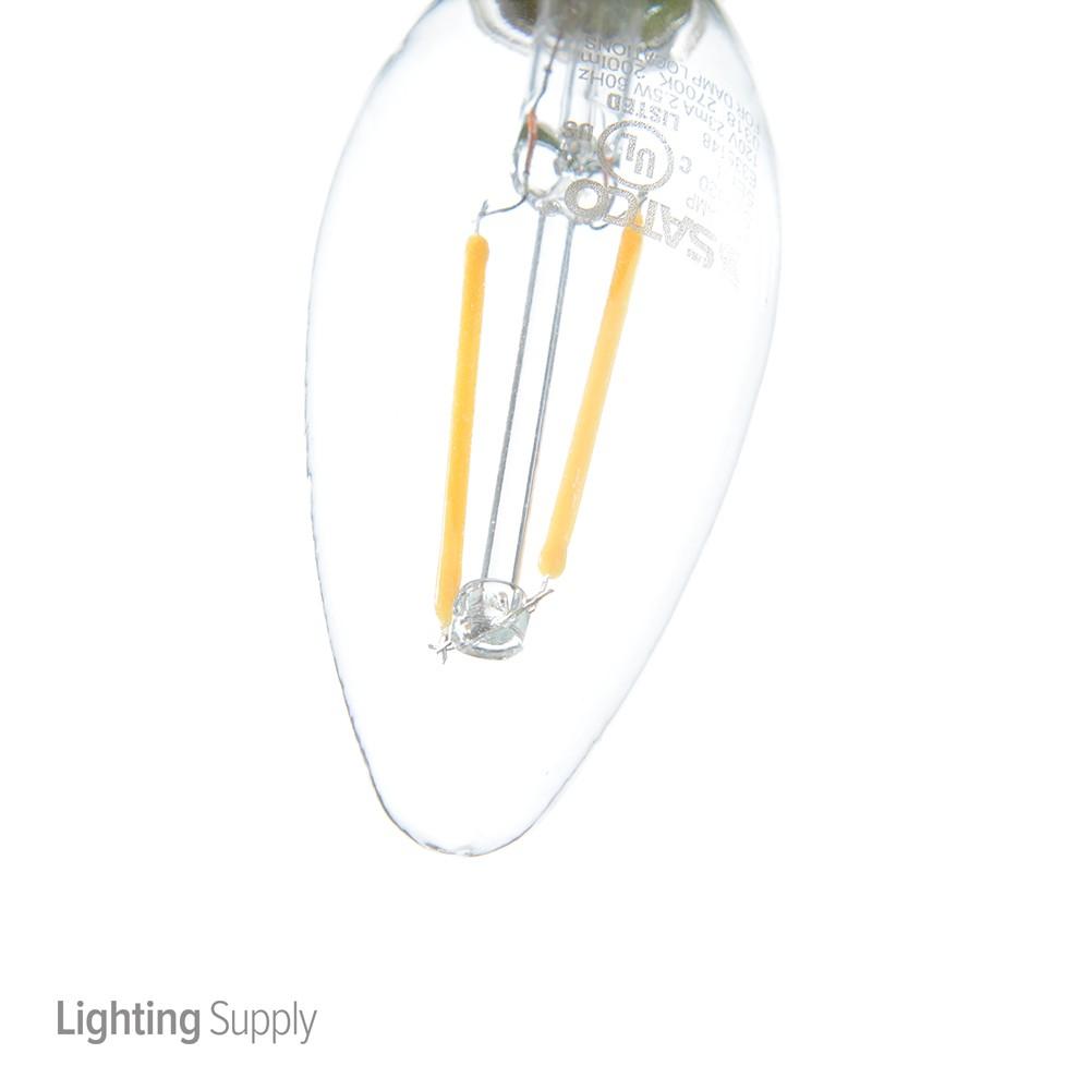 Satco 2.5W CTC/LED/27K/CL/120V 2.5 Watt C11 Led; Clear; Cand