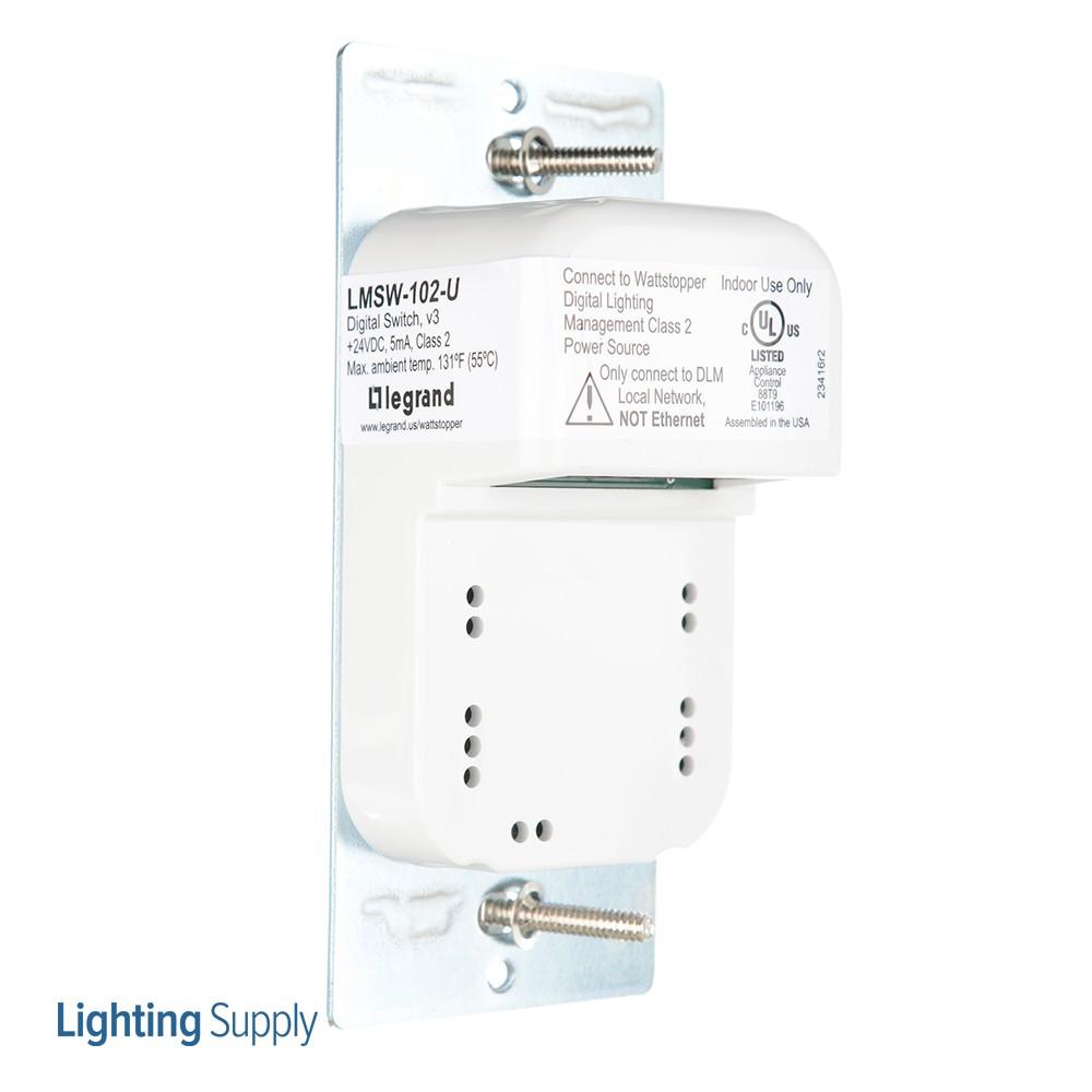 WattStopper LMSW-102-W-U Digital Switch, 2-Buttonw/ Infrared