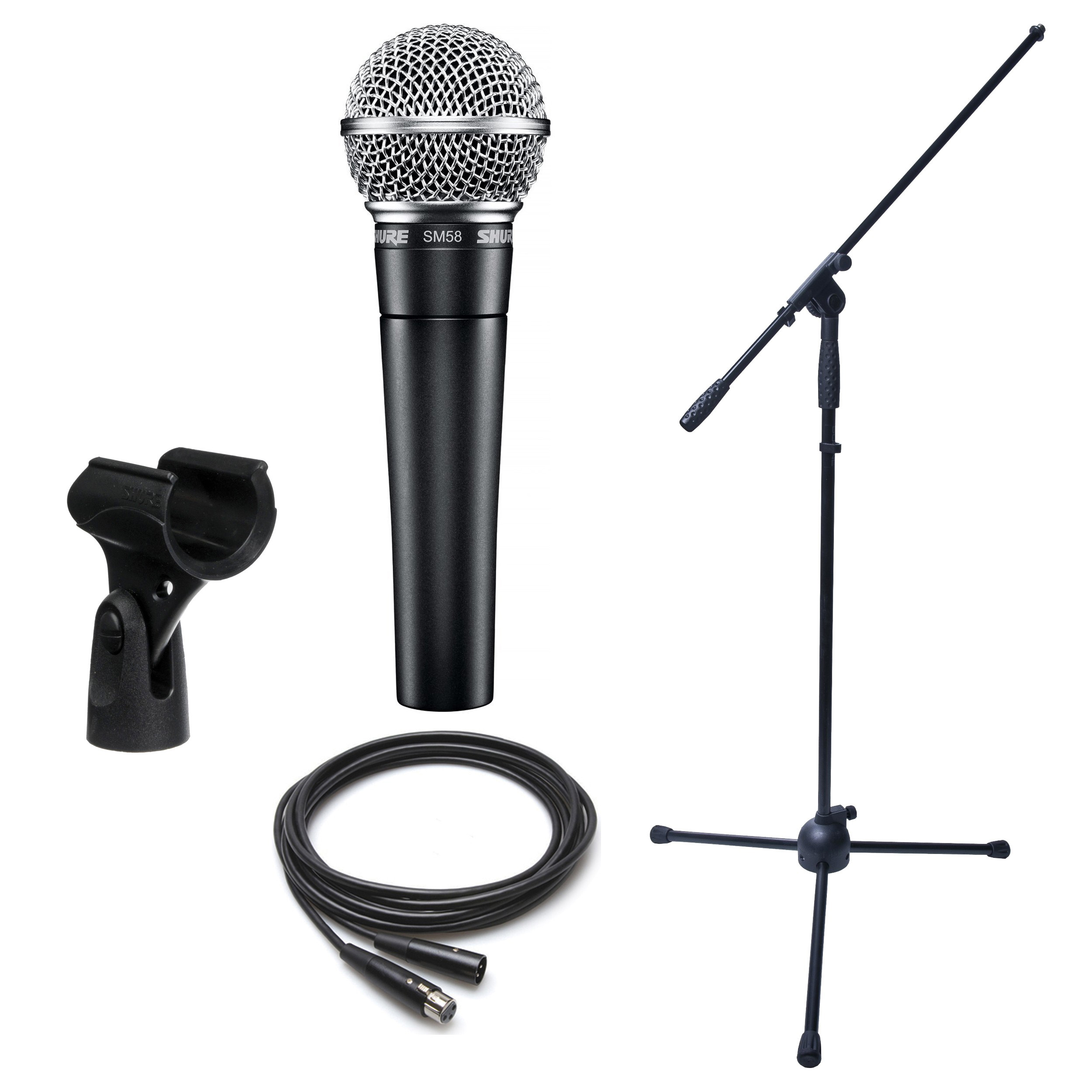 Dynamic Microphone Bundle- Shure Sm58 Boom Stand And Xlr