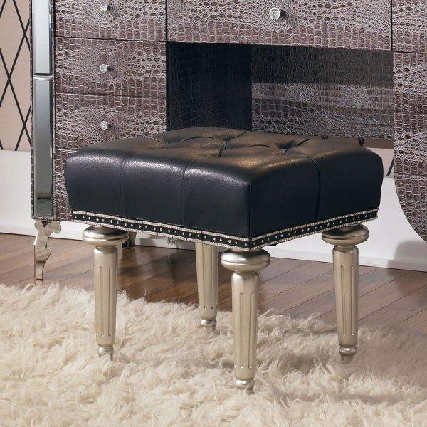Hollywood Swank Vanity Bench Platinum Aico Furniture 1