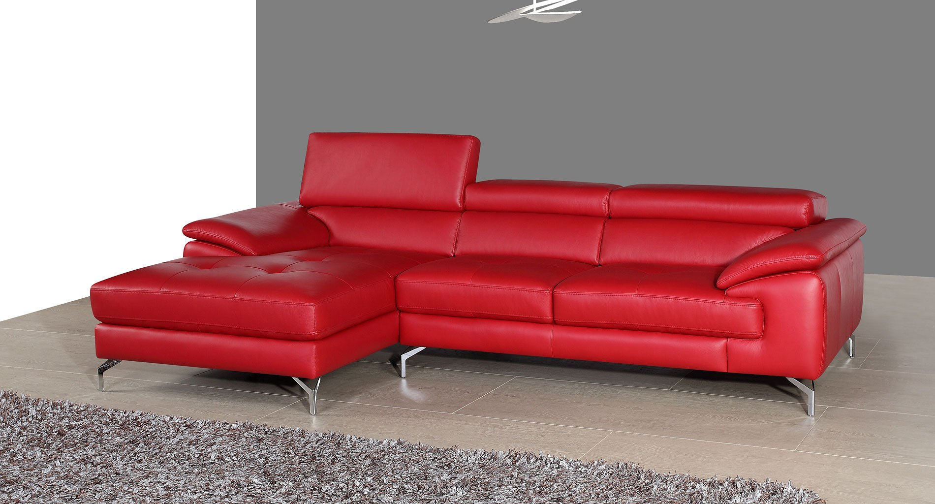 red sectional sofa chaise round wicker patio a973b mini leather left jm