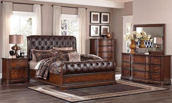 Brompton Lane Sleigh Bedroom Set Homelegance 1 Furniture Cart