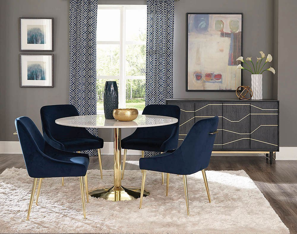 Steele Dining Room Set W Dark Ink Blue Chairs Coaster Furniture Furniture Cart