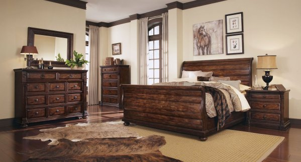 oak sleigh bedroom sets Whiskey Oak Sleigh Bedroom Set ART Furniture | Furniture Cart